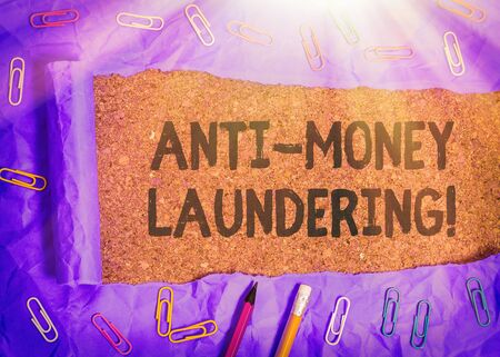 Handwriting text writing Anti Money Laundering. Conceptual photo regulations stop generating income through illegal actions