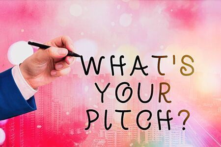 Conceptual hand writing showing What Is Your Pitch question. Concept meaning asking about property of sound or music tone Archivio Fotografico