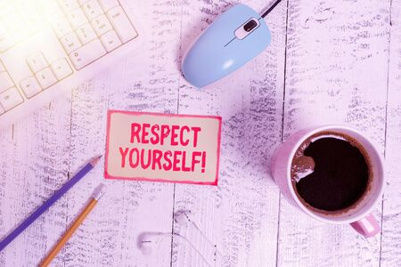 Text sign showing Respect Yourself. Business photo text believing that you good and worthy being treated well technological devices colored reminder paper office supplies keyboard mouse 写真素材