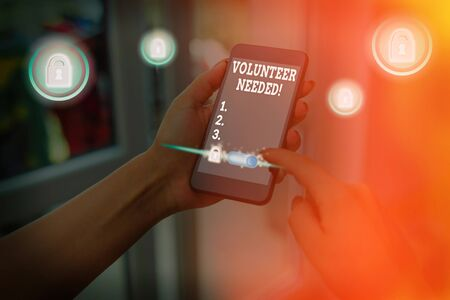 Writing note showing Volunteer Needed. Business concept for need work for organization without being paid
