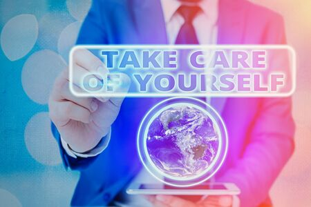 Word writing text Take Care Of Yourself. Business photo showcasing a polite way of ending a gettogether or conversation Elements of this image furnished by NASA