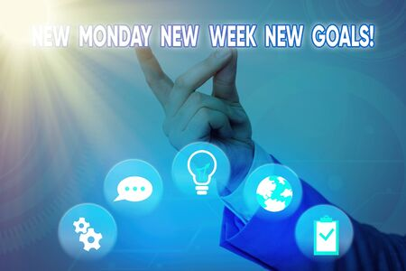 Word writing text New Monday New Week New Goals. Business photo showcasing goodbye weekend starting fresh goals targets