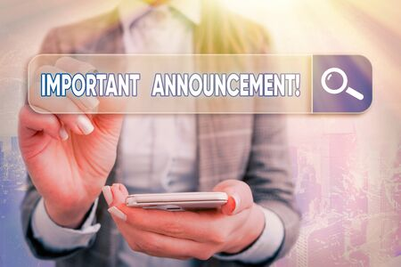 Text sign showing Important Announcement. Business photo text spoken statement that tells showing about something