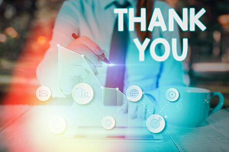 Text sign showing Thank You. Business photo text a polite expression used when acknowledging a gift or service