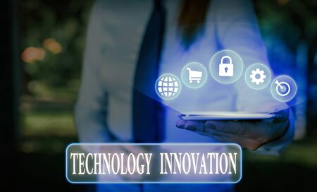 Word writing text Technology Innovation. Business photo showcasing significant technological changes of products