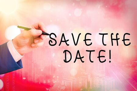Conceptual hand writing showing Save The Date. Concept meaning Organizing events well make day special event organizers