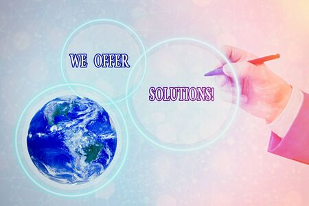 Conceptual hand writing showing We Offer Solutions. Concept meaning way to solve problem or deal with difficult situation 写真素材