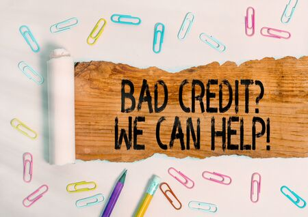 Conceptual hand writing showing Bad Creditquestion We Can Help. Concept meaning offerr help to gain positive payment history Standard-Bild