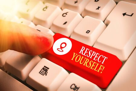 Text sign showing Respect Yourself. Business photo showcasing believing that you good and worthy being treated well Stock Photo