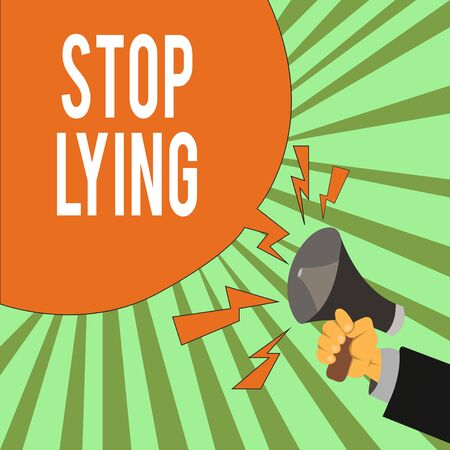 Conceptual hand writing showing Stop Lying. Concept meaning put an end on chronic behavior of compulsive or habitual lying Male Hu analysis Hand Holding Megaphone Blank Speech Bubble
