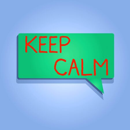 Writing note showing Keep Calm. Business concept for not get emotionally invested in situations you cannot control over Rectangular shape Solid color Halftone Blank Speech Bubble with Shadow Stockfoto