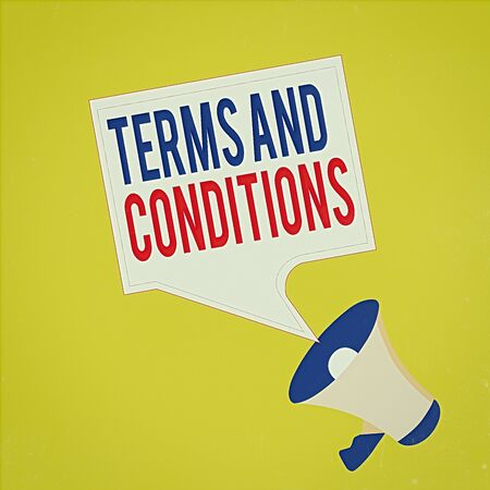Text sign showing Terms And Conditions. Business photo showcasing rules that apply to fulfilling a particular contract Megaphone and Blank Bordered Square Speech Bubble Public Announcement