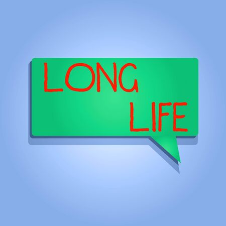 Writing note showing Long Life. Business concept for able to continue working for longer than others of the same kind Rectangular shape Solid color Halftone Blank Speech Bubble with Shadow Standard-Bild