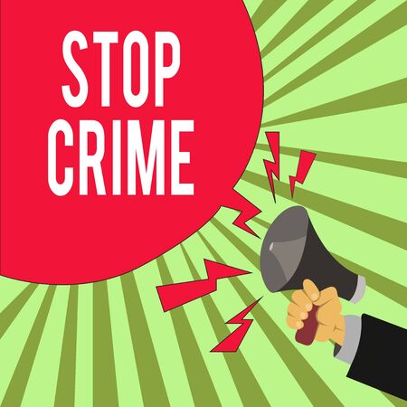 Conceptual hand writing showing Stop Crime. Concept meaning the effort or attempt to reduce and deter crime and criminals Male Hu analysis Hand Holding Megaphone Blank Speech Bubble