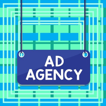 Text sign showing Ad Agency. Business photo showcasing business dedicated to creating planning and handling advertising Board color background plank attached string panel rectangle empty surface