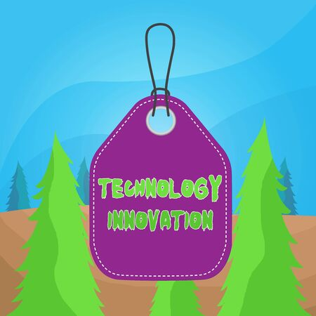 Word writing text Technology Innovation. Business photo showcasing significant technological changes of products Empty tag blank space colorful background label rectangle attached string