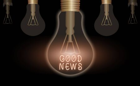 Word writing text Good News. Business photo showcasing Someone or something positive Encouraging uplifting or desirable
