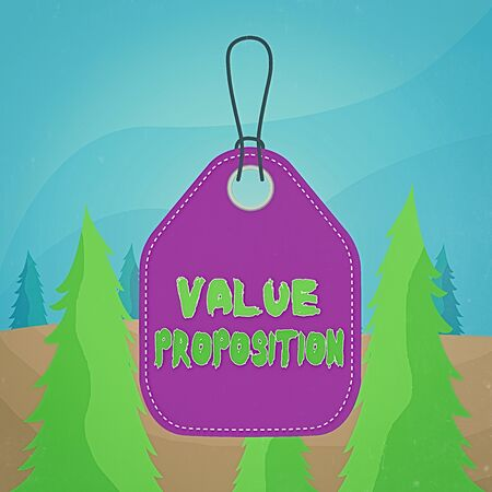 Word writing text Value Proposition. Business photo showcasing feature intended to make a company or product attractive Empty tag blank space colorful background label rectangle attached string