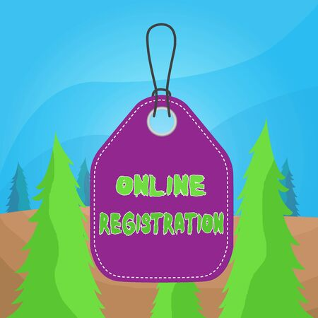 Word writing text Online Registration. Business photo showcasing System for subscribing or registering via the Internet Empty tag blank space colorful background label rectangle attached string