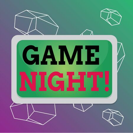 Word writing text Game Night. Business photo showcasing usually its called on adult play dates like poker with friends Board rectangle white frame empty blank space fixed color surface plank Stockfoto