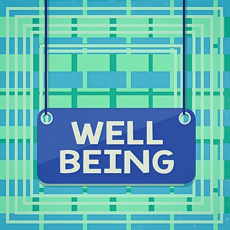 Text sign showing Well Being. Business photo showcasing A good or satisfactory condition of existence including health Board color background plank attached string panel rectangle empty surface
