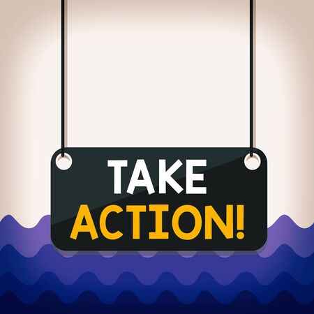 Conceptual hand writing showing Take Action. Concept meaning do something official or concerted to achieve aim with problem Board color background plank attached string panel rectangle