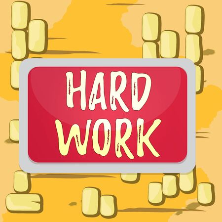 Word writing text Hard Work. Business photo showcasing always putting a lot of effort and care into work or endurance Board rectangle white frame empty blank space fixed color surface plank Standard-Bild