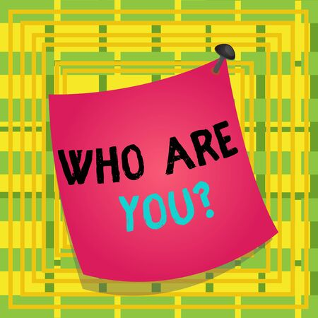 Text sign showing Who Are You Question. Business photo showcasing asking about someone identity or demonstratingal information Curved reminder paper memo nailed colorful surface stuck blank pin frame