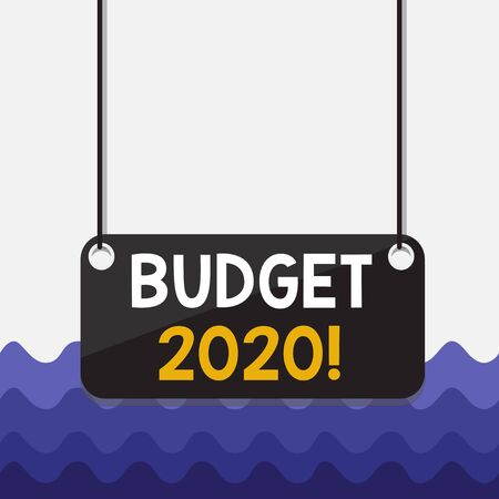 Conceptual hand writing showing Budget 2020. Concept meaning estimate of income and expenditure for current year Board color background plank attached string panel rectangle