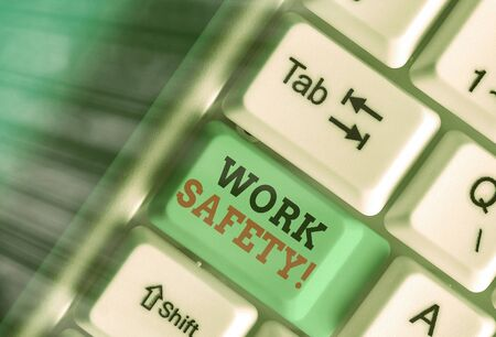 Handwriting text writing Work Safety. Conceptual photo policies and procedures in place to ensure health of employees