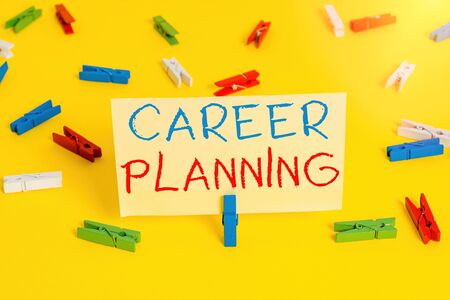 Word writing text Career Planning. Business photo showcasing Strategically plan your career goals and work success Colored clothespin papers empty reminder yellow floor background office
