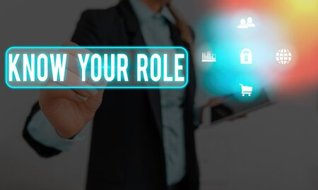 Text sign showing Know Your Role. Business photo text end acting outside who you actually are Play your position