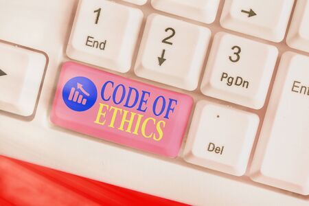 Writing note showing Code Of Ethics. Business concept for basic guide for professional conduct and imposes duties 스톡 콘텐츠