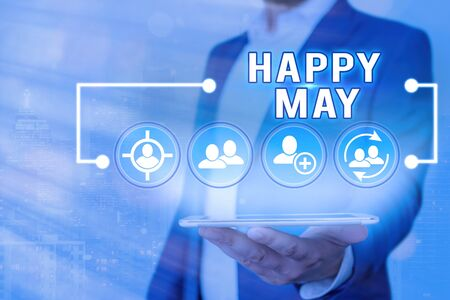 Text sign showing Happy May. Business photo showcasing Happy new month Best wishes Fresh Start Celebrating Holiday Stock Photo