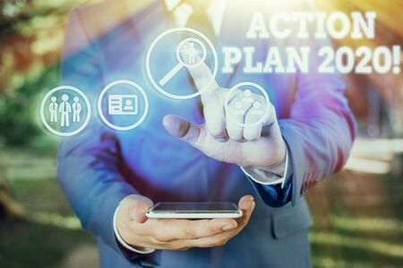 Text sign showing Action Plan 2020. Business photo showcasing proposed strategy or course of actions for current year