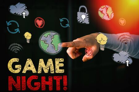 Text sign showing Game Night. Business photo showcasing usually its called on adult play dates like poker with friends