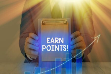 Text sign showing Earn Points. Business photo showcasing collecting scores in order qualify to win big prize