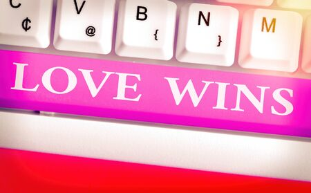 Writing note showing Love Wins. Business concept for used to celebrate or commemorate the victory of marriage equality