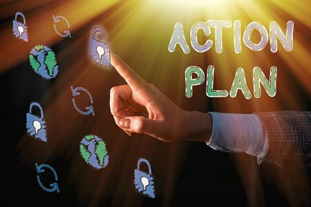 Word writing text Action Plan. Business photo showcasing detailed plan outlining actions needed to reach goals or vision Stock fotó