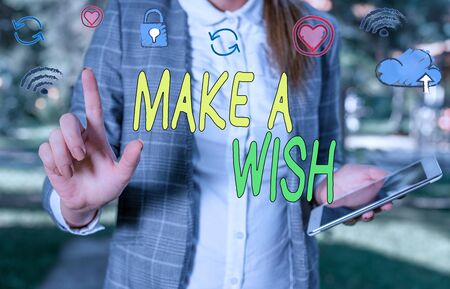 Handwriting text Make A Wish. Conceptual photo to desire a situation that is different from the one that exist 免版税图像