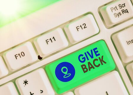 Text sign showing Give Back. Business photo text the act of giving someone something that they owned or had before