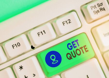 Text sign showing Get Quote. Business photo text the most recent price to which a buyer and seller agreed