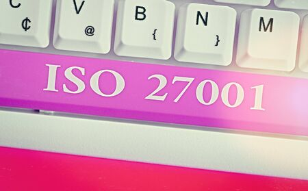 Writing note showing Iso 27001. Business concept for specification for an information security management system