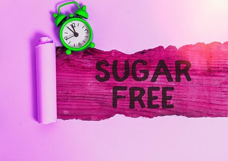 Conceptual hand writing showing Sugar Free. Concept meaning containing an artificial sweetening substance instead of sugar Foto de archivo