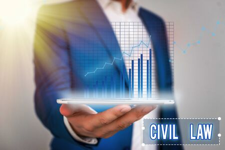 Word writing text Civil Law. Business photo showcasing Law concerned with private relations between members of community