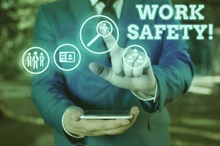 Text sign showing Work Safety. Business photo showcasing policies and procedures in place to ensure health of employees