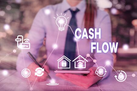 Conceptual hand writing showing Cash Flow. Concept meaning Movement of the money in and out affecting the liquidity