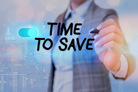 Writing note showing Time To Save. Business concept for to do something more efficiently that less time is required