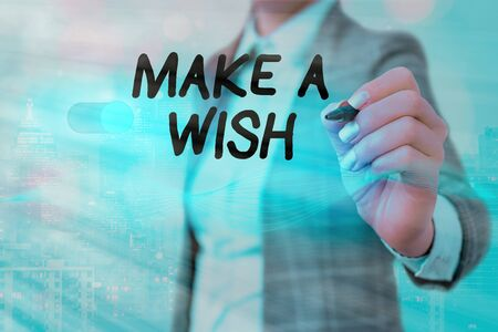 Writing note showing Make A Wish. Business concept for to desire a situation that is different from the one that exist