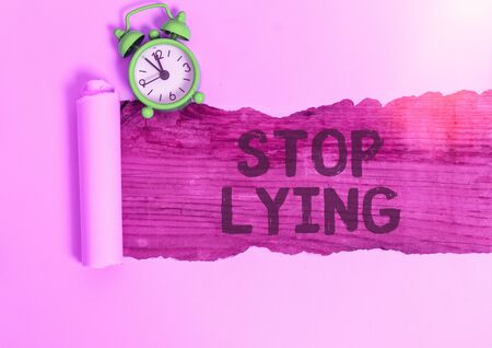 Conceptual hand writing showing Stop Lying. Concept meaning put an end on chronic behavior of compulsive or habitual lying